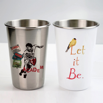 white and silver stainless steel cup for dye sublimation